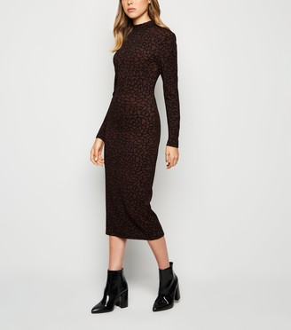 New Look JDY Leopard Print Long Sleeve Midi Dress