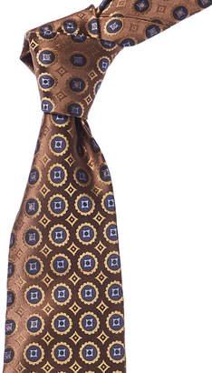 Isaia Dark Brown & Blue Geometric Silk Tie