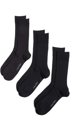 Calvin Klein Underwear 3 Pack Rib Dress Crew Socks
