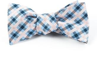 Tie Bar Power Checks Blush Pink Bow Tie