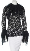 Moschino Tulle-Trimmed Lace Top