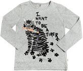 Stella McCartney Cat Print Organic Cotton Jersey T-Shirt