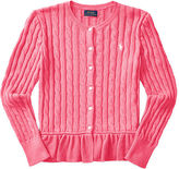 Ralph Lauren 7-16 Cable Cotton Peplum Cardigan