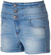 Tinseltown Juniors' Triple Stack Denim Shortie Shorts