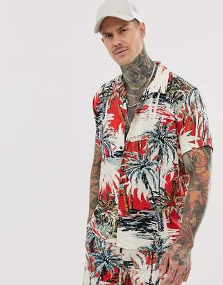 Bershka short sleeve shirt with palm tree print in red-Multi