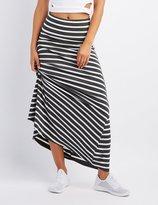 Charlotte Russe Striped Foldover Waist Maxi Skirt