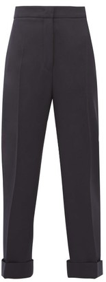 Jil Sander High-rise Wool Twill Trousers - Womens - Navy
