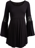 Glam Black Lace-Detail Bell-Sleeve Maternity Tunic