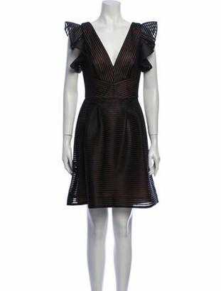 Marchesa Notte V-Neck Mini Dress w/ Tags Black