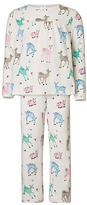 John Lewis Children's Velour Fawn All-Over Print Pyjamas, Multi