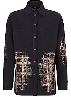 Fendi Men's Blurred FF Cotton Fleece Shirt Jacket