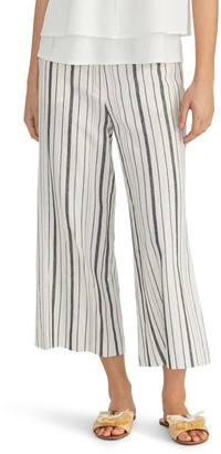 Rachel Roy Stripe Linen Blend Crop Wide Leg Pants