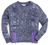 Design History Girls' Marled Zip Cropped Sweater - Big Kid