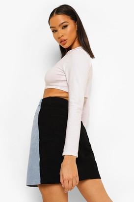 boohoo Colour Block Denim Mini Skirt