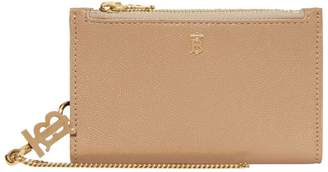 Burberry Grained Leather Monogram Wallet