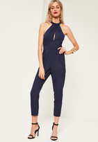 Missguided Petite Exclusive Navy Wrap Choker Neck Romper