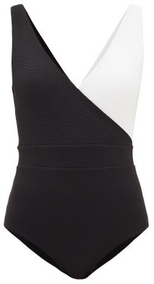Cossie + Co - The Ashley Pique-effect Jersey Swimsuit - Womens - Black White