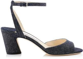 Jimmy Choo MIRANDA 65 Indigo Denim Block Heel Sandals