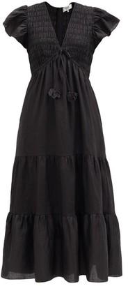 Sea Smocked Tiered Ramie Dress - Black