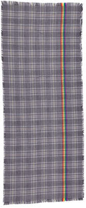Woven Plaid Scarf With Rainbow Accent