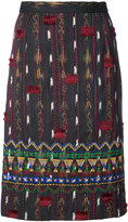 Oscar de la Renta embroidered straight skirt