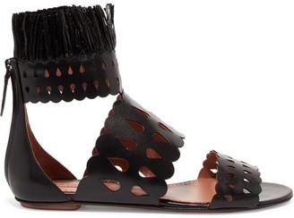 Alaia Raffia-trimmed Laser-cut Leather Sandals