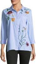 Brandon Thomas Floral-Embroidered Blouse