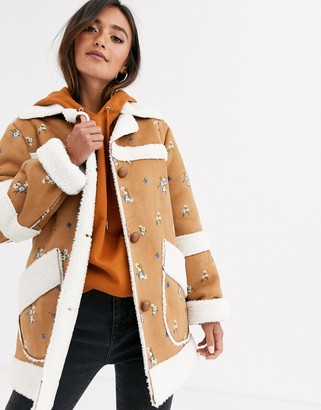 Asos Design DESIGN suedette jacket with floral embroidery-Tan