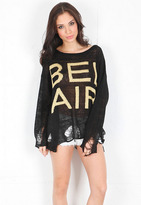 Wildfox Couture Bel Air Ripped Sweater in Black
