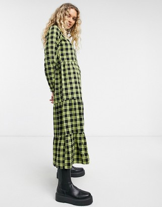 Only long sleeve midi dress in checked print