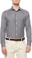 Kiton Check Long-Sleeve Shirt, Navy/Purple/Green