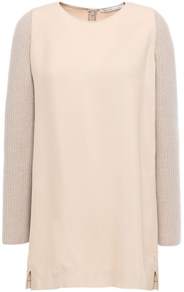Agnona Twill And Ribbed-knit Top
