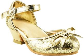 The Doll Maker Girls' Pumps Gold - Gold Glitter Ankle-Strap Dress Shoe - Girls
