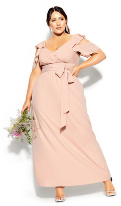 City Chic Frill Treasure Maxi Dress - pink
