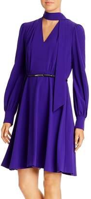 Elie Tahari Eleanora Tie-Neck Belted Dress