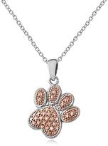 Champagne Diamond & Two-Tone Paw Print Pendant Necklace