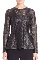 Josie Natori Lacquer Lace Long Sleeve Top