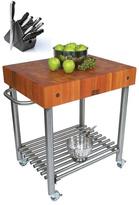 John Boos CHY-CUCD15 Cherry Cucina D'Amico 30 x 24 Cart and Henckels 13-piece Knife Block