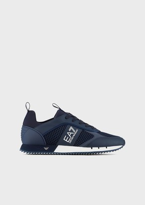 Ea7 Black&White Laces Sneakers In Mesh With Metallic Details On The Sole
