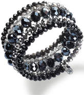 INC International Concepts Silver-Tone Jet and Metallic Beaded Coil Bracelet, Created for Macy's