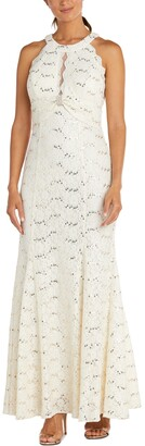 Nightway Lace Illusion-Detail Gown