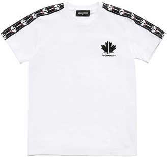 DSQUARED2 Cotton Jersey T-Shirt W/ Logo Bands