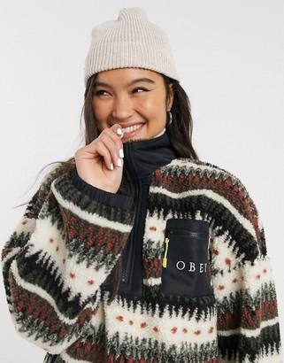 Obey oversized half zip fleece with front logo pocket in graphic stripe-Black