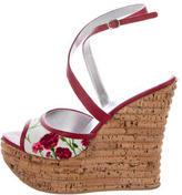 Dolce & Gabbana Floral Print Wedge Sandals