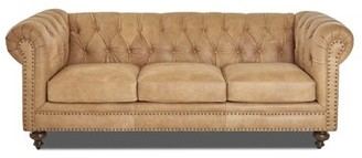 Kavya Leather Chesterfield Sofa Canora Grey
