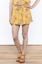 En Creme Yellow Floral Printed Shorts