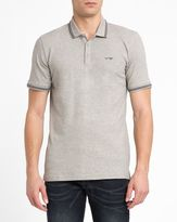 Armani Jeans Mottled-Grey Cotton Pique Slim-Fit Polo Shirt with Navy Trim and Chest Logo