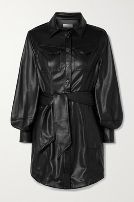 Jonathan Simkhai Eve Belted Vegan Leather Mini Shirt Dress - Black