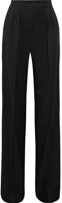 Max Mara Pleated Satin-trimmed Wool-twill Wide-leg Pants