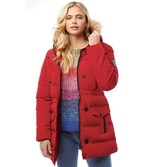 Brave Soul Womens Long Padded Bubble Jacket With Hood Red/Black
